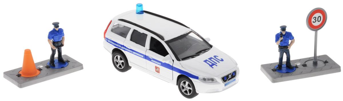 Пламенный мотор Машинка инерционная Volvo Полиция ДПС ГУ БДД870077Машинка инерционная Пламенный мотор Volvo. Полиция ДПС ГУ БДД - реалистично смоделированная игрушка для маленьких автолюбителей. Отличается хорошей детализацией и качественным видом. В машинку встроен инерционный механизм, который может привезти игрушку в движение, стоит только откатить машинку назад, а затем отпустить. Передние дверцы машинки открываются. Обладает световыми и звуковыми эффектами. Масштаб 1:32. В набор также входят 2 фигурки полицейских и 2 дорожных знака. Машинка подойдет для игры как дома, так и на улице. Выполнена из качественных материалов, которые не вредят здоровью ребенка. Рекомендуется докупить 3 батарейки напряжением 1,5V типа LR41 (товар комплектуется демонстрационными).