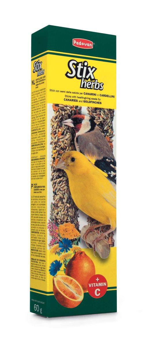 Палочки Padovan Антистрессовые для канареек и экзотических птиц, с травами, 2 х 60 г16799Лакомство - две аппетитные палочки, спрессованные из тщательно подобранной смеси разнообразных семян, фруктов и полезных пищевых добавок. Состав: канареечное семя, льняное семя, масличный нуг (гвизоция абиссинская), салат, фенхель, цикорий, апельсин, печенье: пшеничная мука, дрожжи, пищевые красители, минералы, консерванты, натуральные вкусовые добавки.