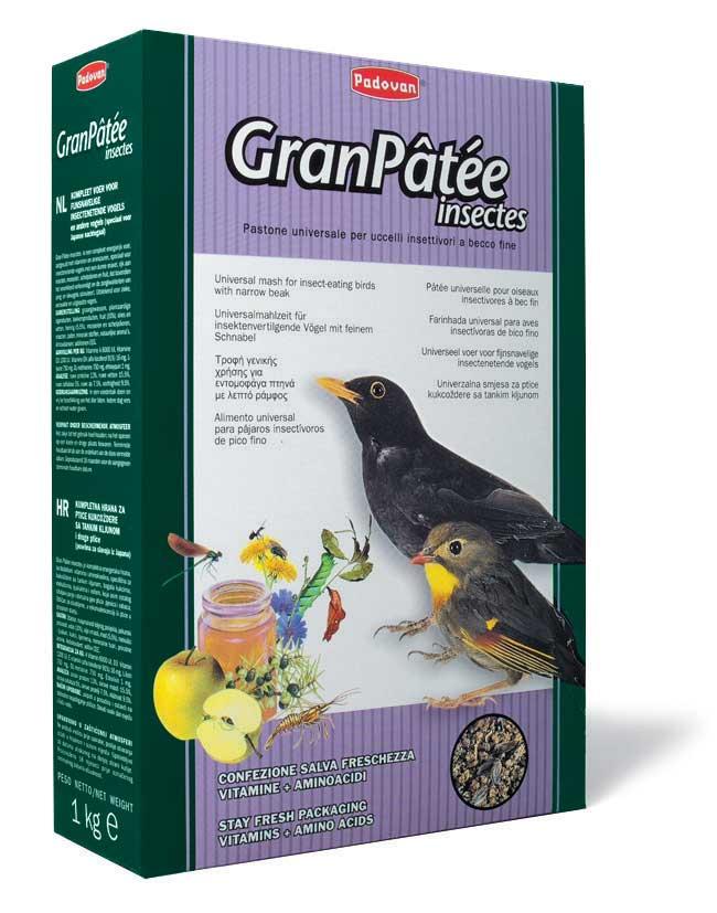"""Корм Padovan """"GranPatee insectes"""" для насекомоядных птиц, с насекомыми, 1 кг 16830"""