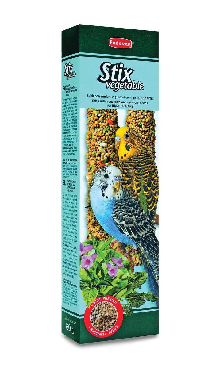 Палочки Padovan Овощныедля волнистых попугаев, 2 х 60 г16868Лакомство — две аппетитные палочки, спрессованные из тщательно подобранной смеси семян, овощей и полезных пищевых добавок. Предназначено для волнистых попугаев. Пригодно для питания и других птиц. Снабжены приспособлением для удобного крепления лакомства внутри клетки. Состав: белое, красное и желтое просо, канараеечное семя, итальянское просо, перилла (мята пурпурная, базилик китайский), кунжут, морковь, шпинат, печенье: пшеничная мука, дрожжи, пищевые красители, декстроза, минералы, консерванты, натуральные вкусовые добавки.