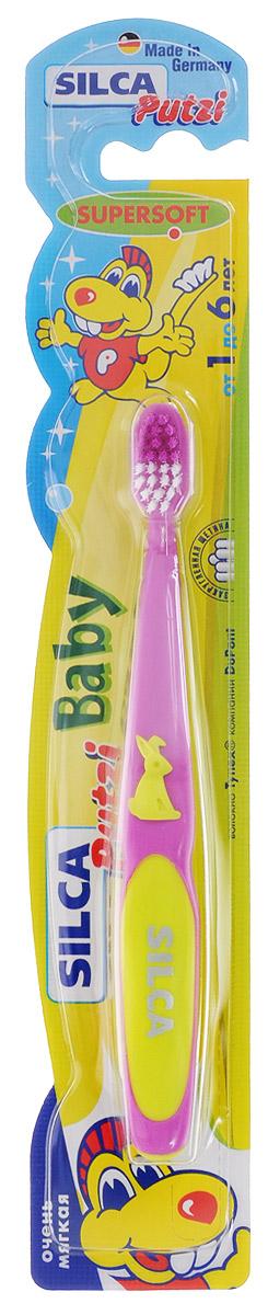 Silca Putzi Зубная щетка Baby от 1 до 6 лет цвет сиреневый желтый164_сиреневыйЗубная щетка Silca Putzi Baby предназначена для детей от 1 года до 6 лет. Маленькая головка с очень мягкой щетиной и широкой мягкой окантовкой обеспечивает особо бережный уход за молочными зубами. Абсолютно закругленная щетина не травмирует чувствительные десны ребенка. При производстве щетины используется высококачественное волокно Tynex компании DuPont. Удобная двухкомпонентная ручка с нескользящим покрытием, упором для большого пальца и мягким закругленным кончиком украшена фигуркой кролика.