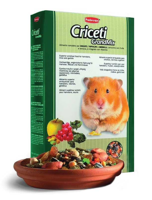 Корм Padovan Grandmix Criceti для хомяков и мышей, 1 кг16825Комплексный, высококачественный основной корм для мышей, хомяков и песчанок. Обогащен фруктами и овощами, витаминами и минералами. Состав: подсолнечное семя 6.3%, рис 6.3%, пшеница 18.9%, овёс лущёный, желтое просо, кукуруза, арахис, морковь, плоды рожкового дерева, виноград, экструдированные кукуруза и пищевой краситель, витамины.