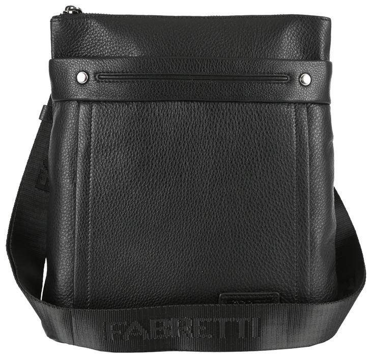 Сумка мужская Fabretti, цвет: черный. 7207FAB7207FABСтильная мужская сумка Fabretti изготовлена из натуральной кожи зернистой фактуры и застегивается на застежку-молнию. Сумка имеет одно основное вместительное отделение. Модель содержит прорезной карман на пластиковой молнии, нашивной карман для телефона и два держателя для шариковых ручек. На лицевой стороне расположен прорезной карман на молнии. На задней стенке дополнительный накладной карман на застежке-молнии. Сумка декорирована нашивкой с тиснением логотипа бренда, прострочками и металлическими элементами. Изделие оснащено несъемным текстильным плечевым ремнем, который регулируется по длине. Ремень выполнен с тиснением бренда. Прилагается текстильный фирменный чехол для хранения. Сумка Fabretti поможет вам подчеркнуть чувство стиля и завершить выбранный образ.