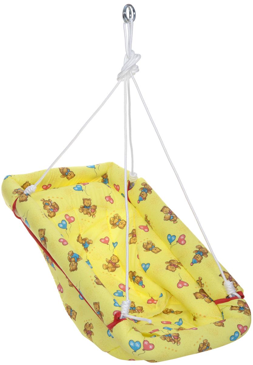Фея Качели-гамак Комфорт Мишки4258_желтыйКачели-гамак Фея Комфорт. Мишки - это небольшое уютное местечко для малыша. Аналог люльки, применявшейся в деревнях. Гамак выполнен из 100% хлопчатобумажной ткани. Имеет мягкое сиденье и оснащен ремнями безопасности. Бортики гамака защищены мягким наполнителем. Гамак подвешивается с помощью небольших тросов на металлические кольца. Его можно легко сложить, при хранении не занимает много места.