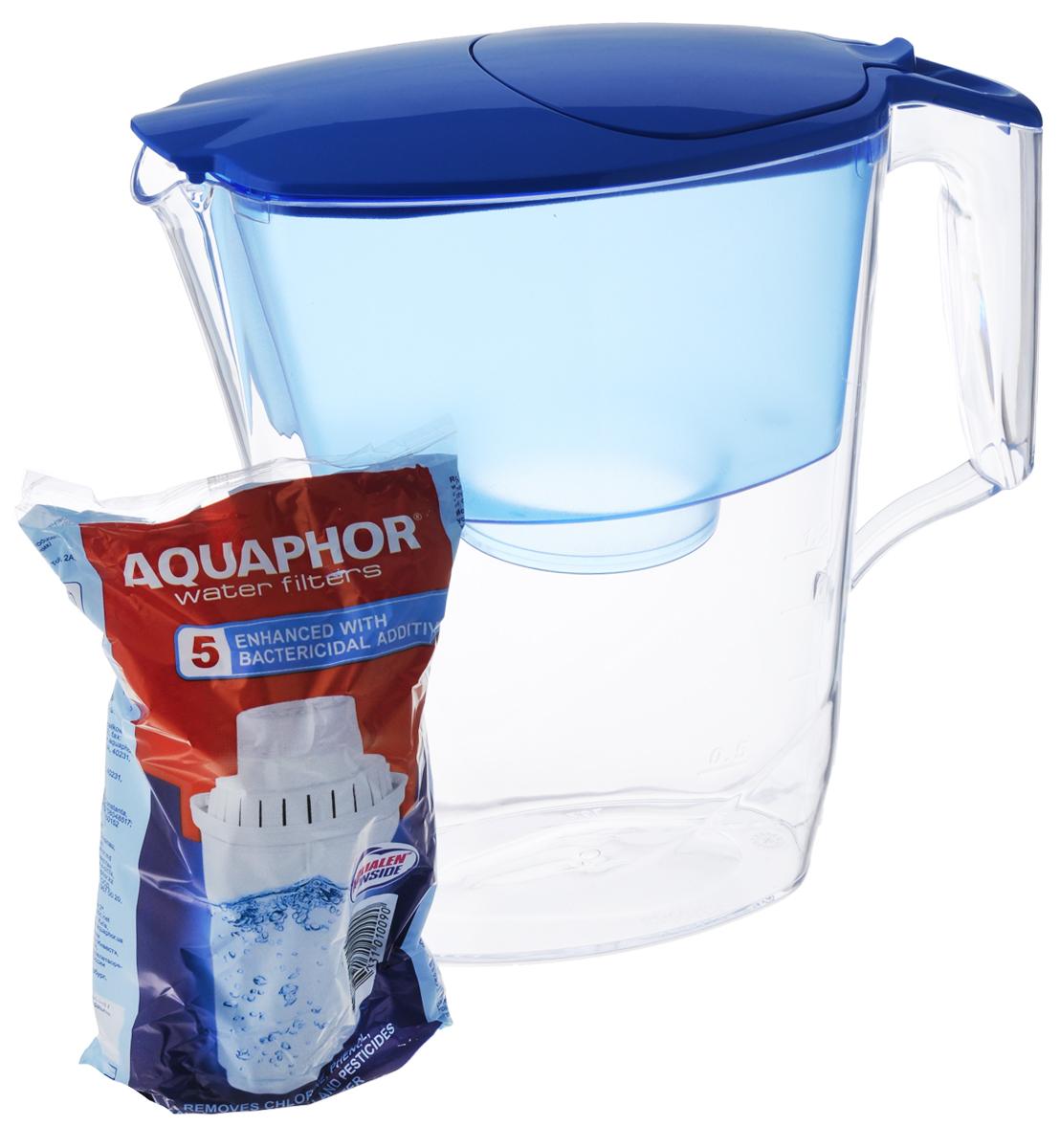 Фильтр-кувшин для воды Аквафор Ультра, цвет: прозрачный, голубой, 2,5 лВ014Р00Фильтр-кувшин Аквафор Ультра позволяет иметь под рукой довольно большое количество очищенной воды, готовой к использованию. Объем кувшина - 2,5 л, объем воронки - 1,1 л. Используется универсальный сменный фильтрующий модуль В100-5, усиленный бактерицидной добавкой. Компания Аквафор создавалась как высокотехнологическая производственная фирма, охватывающая все стадии создания продукции от научных и конструкторских разработок до изготовления конечной продукции. Основное правило Аквафор - стабильно высокое качество продукции и высокие технологии, поэтому техническое обновление производства происходит каждые 3-4 года, для чего покупаются новые модели машин и аппаратов. Собственное производство уникальных сорбентов и постоянный контроль на всех этапах производства позволяют Аквафору выпускать высококачественный продукт, известность которого на рынке быстро растет. Материал: пластик. Общий размер фильтр-кувшина: 25 х 10...