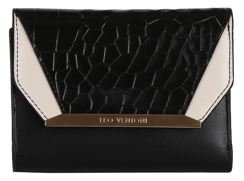 Кошелек женский Leo Ventoni, цвет: черный. L330914L330914 nero/biancoКошелек женский LEO VENTONI из натуральной кожи. Внутри: три отделения для купюр, дополнительный карман и 7 держателей для кредитных и дисконтных карт, закрывается клапаном на кнопке. Отделение для мелочи расположено на внешней стороне закрывается на металлическую молнию. Фурнитура - золото.