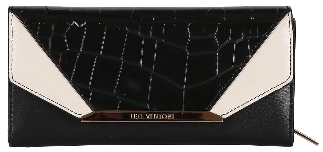 Кошелек женский Leo Ventoni, цвет: черный. L330915L330915 nero/biancoЖенский Кошелек LEO VENTONI из натуральной кожи. Внутри: одно отделение для купюр, в котором имеется 12 держателей для пластиковых карт, отделение для монет, имеющее два кармана и закрывающееся на пластиковую молнию. Имеется ещё два дополнительных кармана для мелочей. Закрывается Кошелек клапаном на кнопке. Фурнитура золото.
