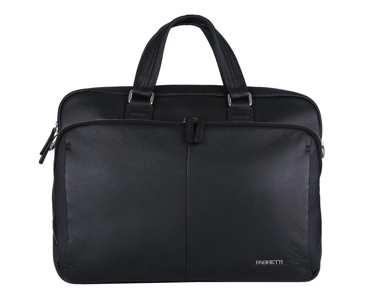 Сумка мужская Fabretti, цвет: черный. 4946FAB-A4946FAB-A-blackСумка мужская Fabretti выполнена из натуральной кожи зернистой фактуры и закрывается на металлическую застежку-молнию. Изделие состоит из двух отделений. Внутренняя часть изделия выполнена из текстиля и натуральной кожи. Основное отделение сумки содержит боковой карман с уплотненной стенкой на липучке для планшета или ноутбука, врезной карман на пластиковой молнии, два нашивных кармана для телефона и мелочей и два держателя для шариковых ручек. Второе отделение менее вместительное, подходит для документов и застегивается на металлическую застежку-молнию. На тыльной стороне сумки расположен дополнительный врезной карман на молнии. Сумка декорирована металлической надписью логотипа бренда. Изделие оснащено удобными ручками для переноски. Прилагаются наплечный ремень регулируемой длины и фирменный текстильный чехол для хранения. Функциональная мужская сумка Fabretti станет стильным аксессуаром для делового мужчины.