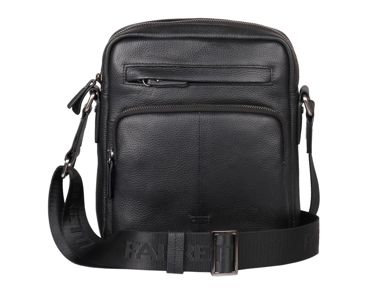 Сумка мужская Fabretti, цвет: черный. 5557FAB5557FAB-blackМужская сумка Fabretti выполнена из натуральной кожи с фактурным тиснением. Модель имеет одно основное отделение, которое закрывается на застежку-молнию. Внутри находится накладной открытый карман, прорезной карман на застежке-молнии и два держателя для авторучек. Снаружи, на передней стенке расположены прорезной и накладной карманы на застежках-молниях, на задней стенке - накладной карман на магнитной кнопке. Изделие оснащено текстильным плечевым ремнем, который регулируется по длине. Изделие упаковано в текстильный фирменный чехол для хранения. Этот стильный аксессуар станет изысканным дополнением к вашему образу.