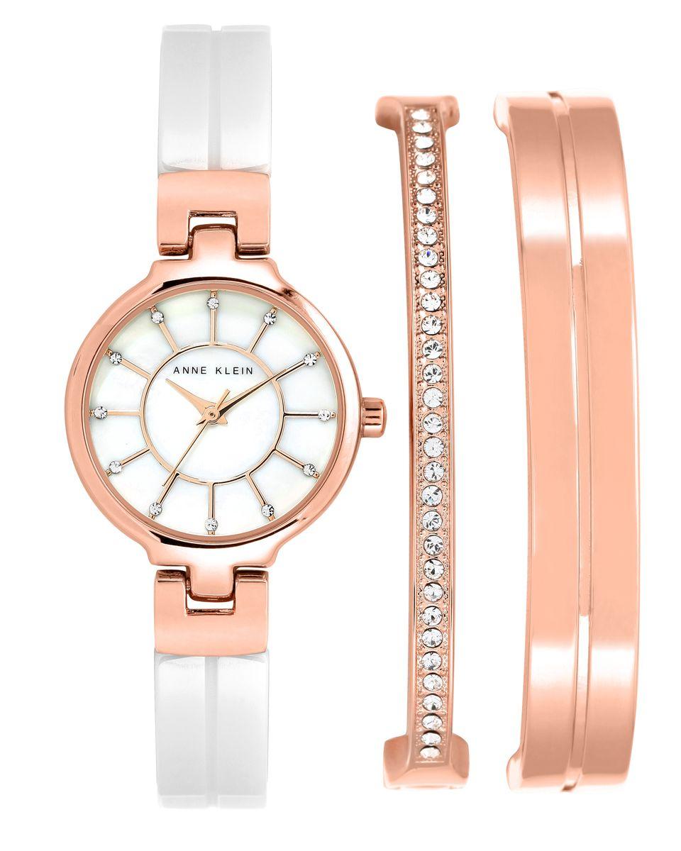 Наручные часы женские Anne Klein, цвет: золотистый, белый. 2048RGST2048RGSTОригинальные и качественные часы Anne Klein