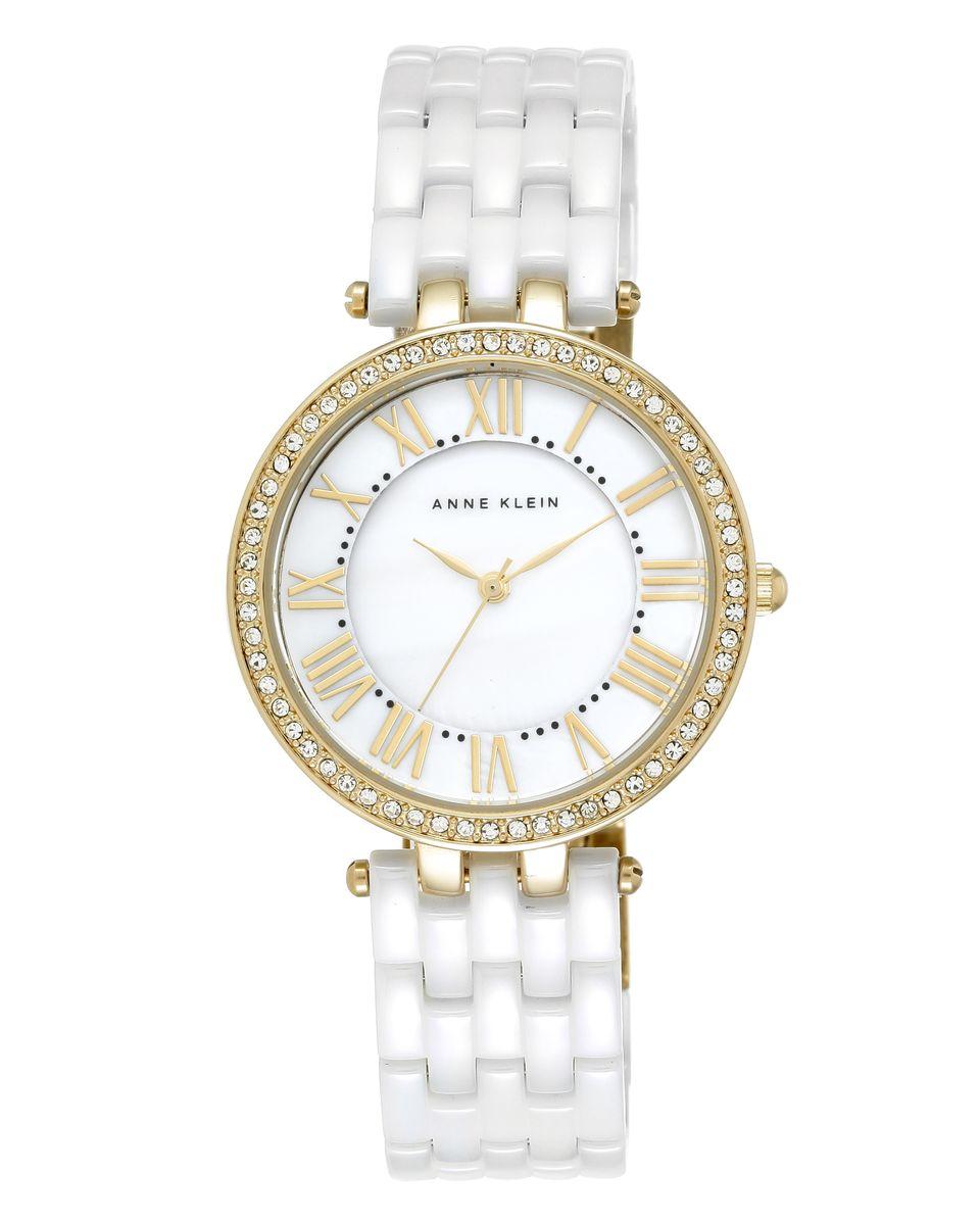 Наручные часы женские Anne Klein, цвет: золотистый, белый. 2130WTGB2130WTGBОригинальные и качественные часы Anne Klein