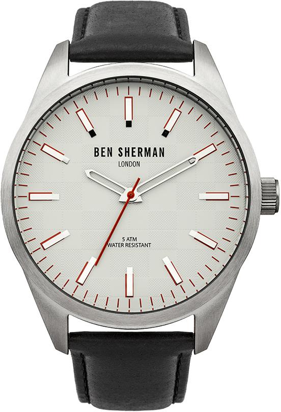 Наручные часы мужские Ben Sherman, цвет: серый металлик, черный. WB007SWB007SТрехстрелочный механизм 2035 Miyota; Корпус из нержавеющей стали; Размер корпуса o 45mm; Минеральное стекло; Черный циферблат; Нет камней; Натуральная кожа черного цвета; Водозащита 5 ATM