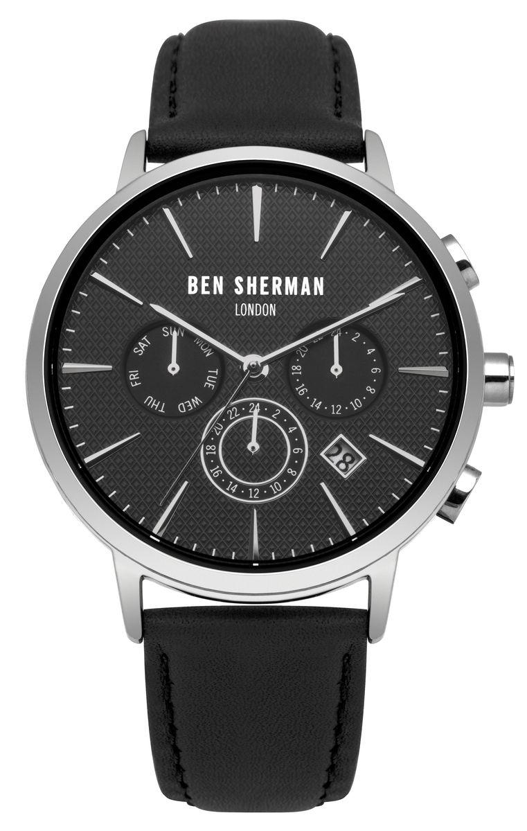 Наручные часы мужские Ben Sherman, цвет: серый металлик, черный. WB028BWB028BМногофункциональный механизи JP25; Нержавеющая сталь; Размер корпуса o 41mm; Минеральное стекло; Черный матовый циферблат; Ремешок из натуральной кожи черного цвета; Водозащита 3 ATM