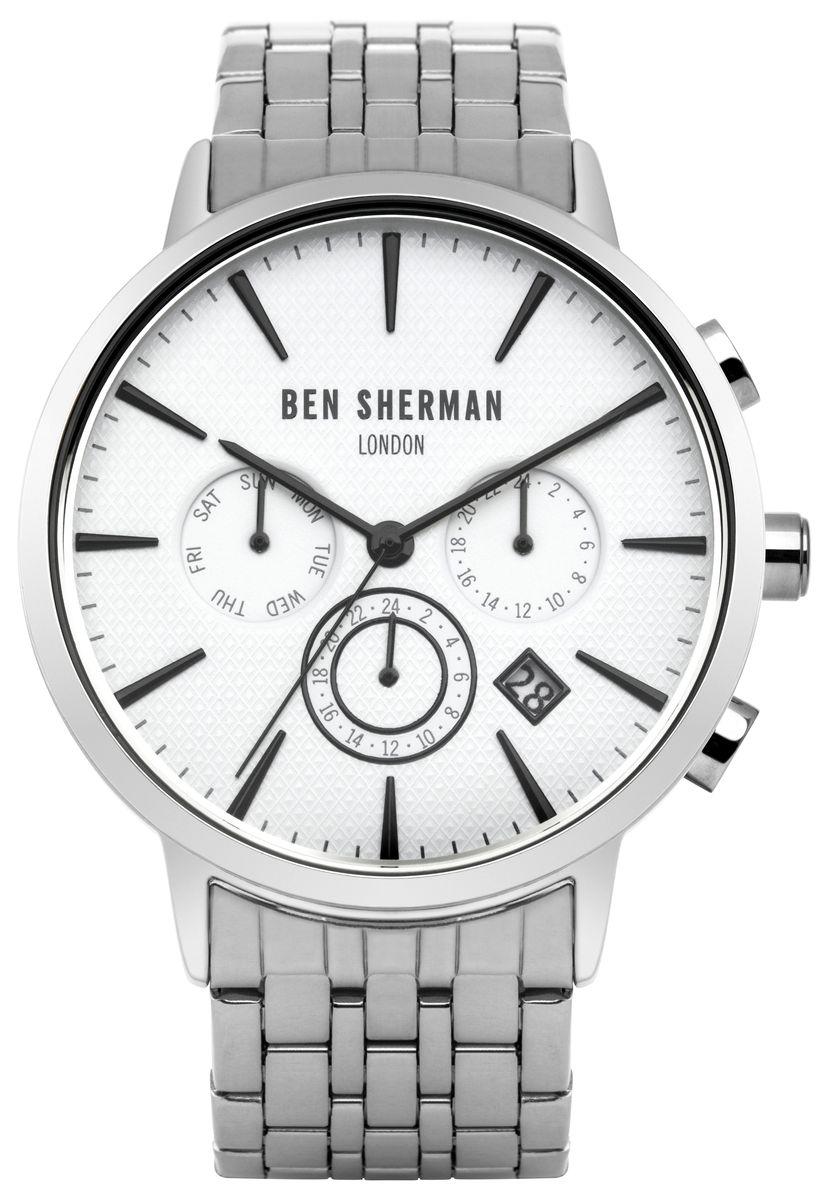 Наручные часы мужские Ben Sherman, цвет: серый металлик. WB028SMWB028SMМногофункциональный механизи ; JP25; Нержавеющая сталь; Размер корпуса o 41mm; Минеральное стекло; Белый матовый циферблатБраслет; Водозащита 3 ATM