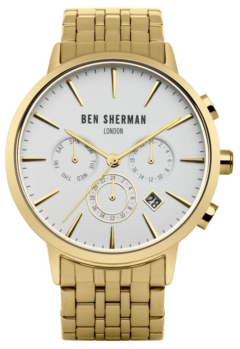 Наручные часы мужские Ben Sherman, цвет: золотой. WB028GMWB028GMМногофункциональный механизи JP25; Нержавеющая сталь,IP Gold покрытие; Размер корпуса o 41mm; Минеральное стекло; Белый матовый циферблат, Браслет; Водозащита 3 ATM