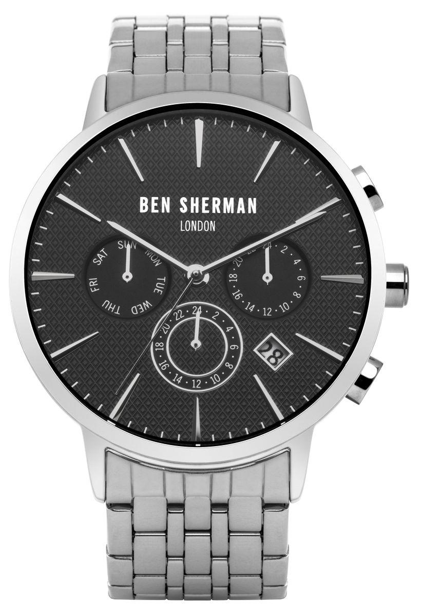 Наручные часы мужские Ben Sherman, цвет: серый металлик. WB028BMWB028BMМногофункциональный механизи JP25; Нержавеющая сталь; Размер корпуса o 41mm; Минеральное стекло; Черный матовый циферблатБраслет; Водозащита 3 ATM