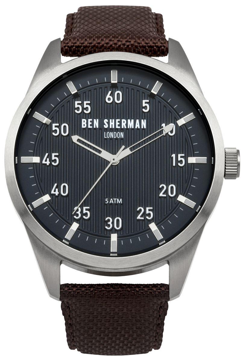 Наручные часы мужские Ben Sherman, цвет: серый металлик, коричневый. WB031BRWB031BRТрехстреловый механизм PC21; Нержавеющая сталь; Размар корпус o 45mm; Минеральное стекло; Черный синий циферблат, Ремешок из натуральной кожи коричневого цвета; 5ATM