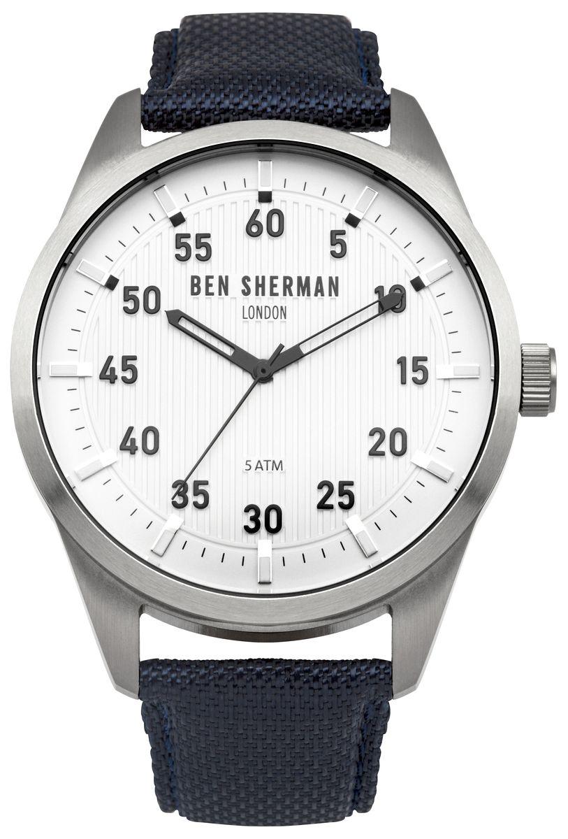 Наручные часы мужские Ben Sherman, цвет: серый металлик, черный. WB031UWB031UТрехстреловый механизм PC21; Нержавеющая сталь; Размар корпус o 45mm; Минеральное стекло; Белый матовый циферблат, Ремешок из натуральной кожи синевого цвета; 5ATM