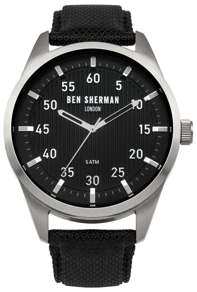 Наручные часы мужские Ben Sherman, цвет: серый металлик, черный. WB031BWB031BТрехстреловый механизм; PC21; Нержавеющая сталь; Размар корпус o 45mm; Минеральное стекло; Черный матовый циферблат, Ремешок из натуральной кожи черного цвета; 5ATM