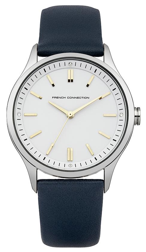 Наручные часы мужские French Connection, цвет: серый металлик, темно-синий. FC1245UFC1245UНаручные часы French Connection выполнены из металла и минерального стекла. Циферблат оформлен символикой бренда. Часы оснащены кварцевым механизмом. Ремешок выполнен из натуральной кожи и оснащен пряжкой, благодаря которой можно с легкостью снимать и надевать изделие.