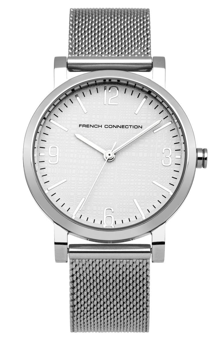 Наручные часы женские French Connection, цвет: серый металлик. FC1249SMFC1249SMТрехстрелочный механизм 2035; Корпус из нержавеющей стали; Размер корпуса o 33 mm; Минеральное стекло; Циферблат белого цвета; Браслет; Водозащита 3 ATM