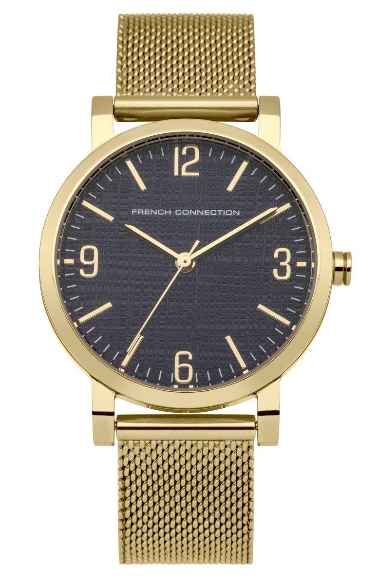 Наручные часы женские French Connection, цвет: золотой. FC1249UGMFC1249UGMТрехстрелочный механизм 2035; Корпус из нержавеющей стали; Размер корпуса o 33 mm; Минеральное стекло; Циферблат синего цвета; Браслет; Водозащита 3 ATM
