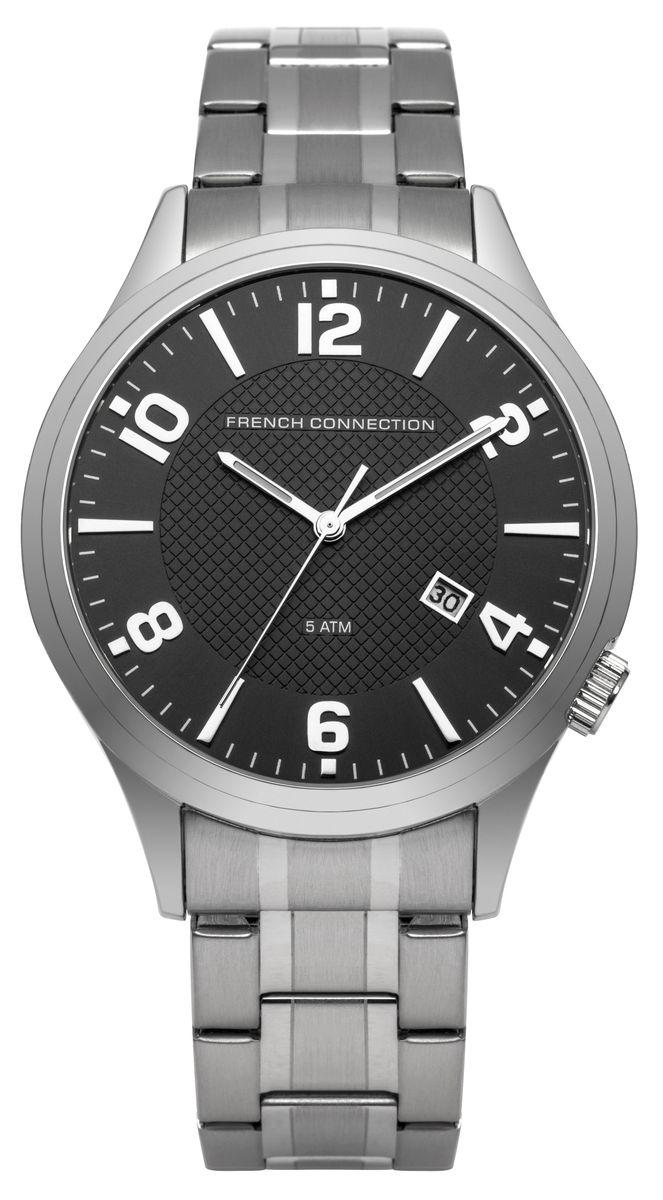 Наручные часы мужские French Connection, цвет: серый металлик. FC1260SMFC1260SMТрехстрелочный механизм (дата) 2115; Корпус из нержавеющей стали; Размер корпуса O 44mm; Минеральное стекло; Циферблат черного цвета; Браслет; Водозащита 5 ATM