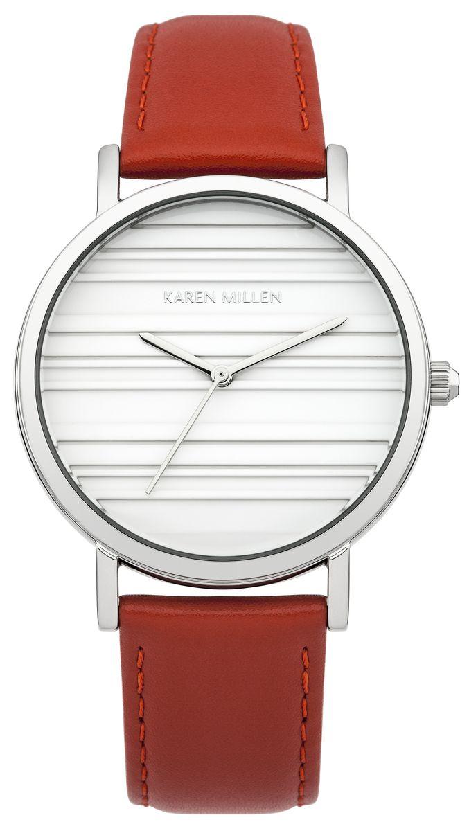 Наручные часы женские Karen Millen, цвет: серый металлик, красный. KM154R