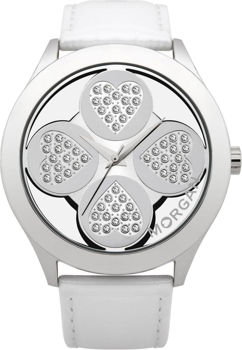 Наручные часы женские Morgan, цвет: серый металлик, белый. M1133WBRM1133WBRТрехстрелочный механизм Miyota PC21AE; Сталь; Полированный корпус; Минеральное стекло; Циферблат в форме клевера с прозрачными вставками; Чешские кристаллы; Ремень из натуральной кожи белого цвета; Водозащита 3 ATM