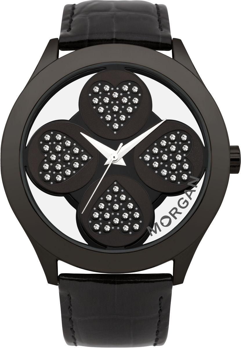 Наручные часы женские Morgan, цвет: черный. M1133BBBRM1133BBBRТрехстрелочный механизм Miyota PC21AE; Сталь; IP-покрытие черного цвета; Полированный корпус; Минеральное стекло; Циферблат в форме клевера с прозрачными вставками; Чешские кристаллы; Ремень из натуральной кожи черного цвета; Водозащ