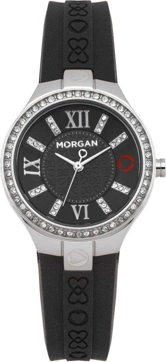 Наручные часы женские Morgan, цвет: серый металлик, черный. M1138BBRM1138BBRТрехстрелочный механизм Miyota; Сталь; Полированный корпус; Минеральное стекло; Циферблат черного цвета; Чешские кристаллы; Браслет силикон черного цвета; Водозащита 3 АТМ
