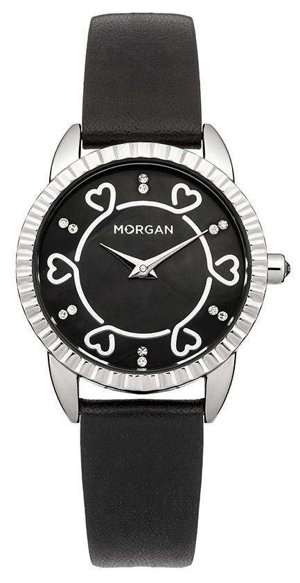 Наручные часы женские Morgan, цвет: серый металлик, черный. M1185BM1185BДвухстрелочный механизм Miyota vx00; Сталь; IPS покрытие; Размер корпуса:28mm; Минеральное стекло; Перламутровый черный циферблат; Камней нет; Ремень- натуральная кожа черного цвета; Водозащита 3ATM