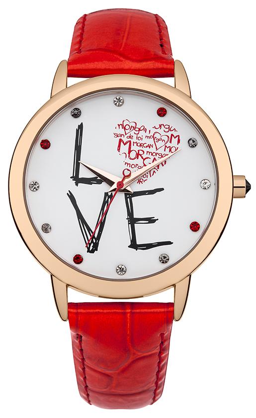 Наручные часы женские Morgan, цвет: золотой, красный. M1214RRGM1214RRGТрехстрелочный механизм Miyota PC21J; IP Rose Gold покрытие; Размер корпуса: 38 mm; Минеральное стекло; Белый циферблат; Чешские кристаллы; Ремень из натуральной кожи красного цвета; Водозащита 3 ATM