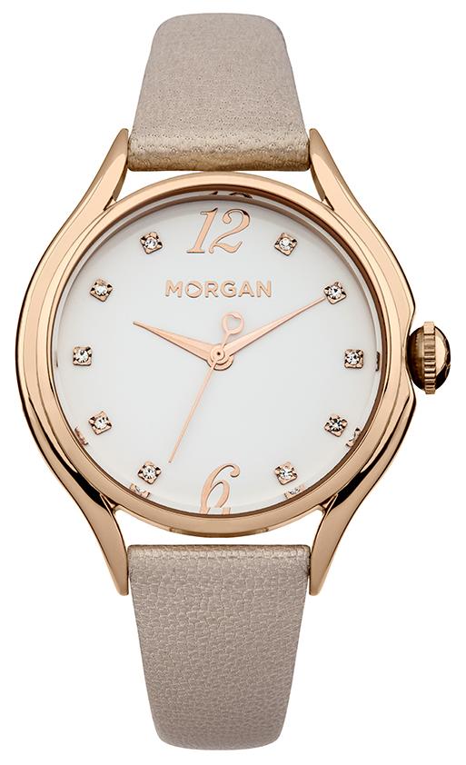 Наручные часы женские Morgan, цвет: золотой, розовый. M1217CRGM1217CRGТрехстрелочный механизм Mioyta PC21J; Металл IPRG покрытие; Размер корпуса: ? 36 mm; Минеральное стекло; Белый циферблат; Чешские кристаллы; Ремешок из натуральной кожи розового цвета; Водозащита 3 ATM