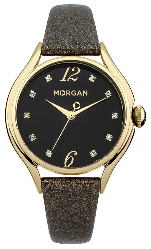 Наручные часы женские Morgan, цвет: золотой, черный. M1217BGM1217BGТрехстрелочный механизм Mioyta PC21J; Металл IPRG покрытие; Размер корпуса: ? 36 mm; Минеральное стекло; Черный циферблат; Чешские кристаллы; Ремешок из натуральной кожи черного цвета; Водозащита 3 ATM