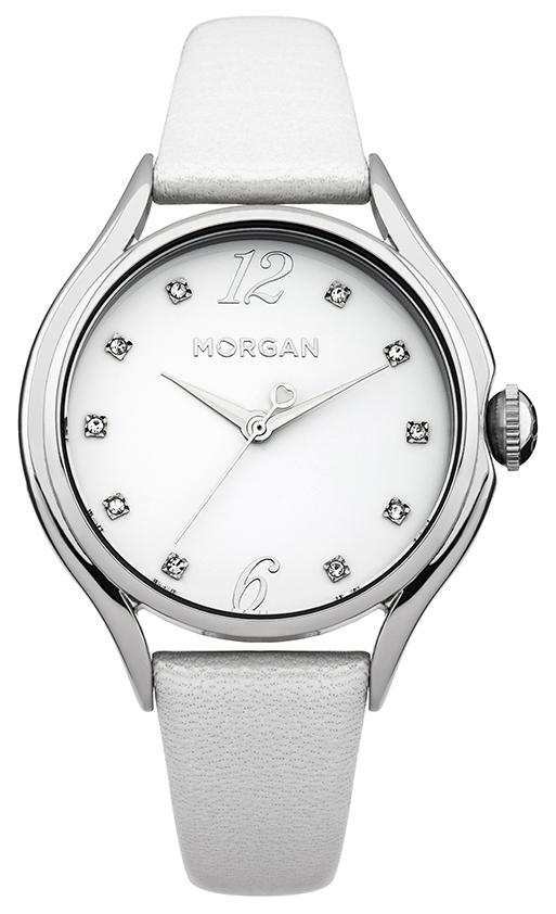 Наручные часы женские Morgan, цвет: серый металлик, белый. M1217WM1217WТрехстрелочный механизм Mioyta PC21J; Металл IPS покрытие; Размер корпуса: ? 36 mm; Минеральное стекло; Белый циферблат; Чешские кристаллы; Ремешок из натуральной кожи белого цвета; Водозащита 3 ATM