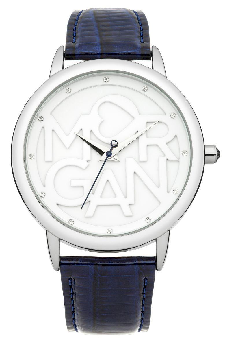 Наручные часы женские Morgan, цвет: серый металлик, синий. M1234UM1234UТрехстрелочный механизм Mioyta PC21J; Металл IPS покрытие; Размер корпуса: ? 38 mm; Минеральное стекло; Белый циферблат; Чешские кристаллы; Ремешок из натуральной кожи синего цвет; Водозащита 3 ATM