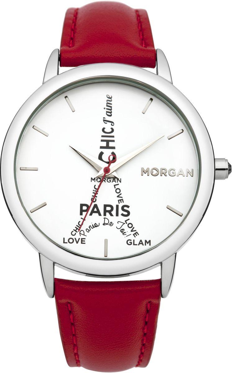 Наручные часы женские Morgan, цвет: серый металлик, красный. M1232RM1232RТрехстрелочный механизм Mioyta PC21J; Металл, IPS покрытие; Размер корпуса: ? 38 mm; Минеральное стекло; Белый циферблат; Чешские кристаллы; Ремешок из натуральной кожи красного цвета; Водозащита 3ATM