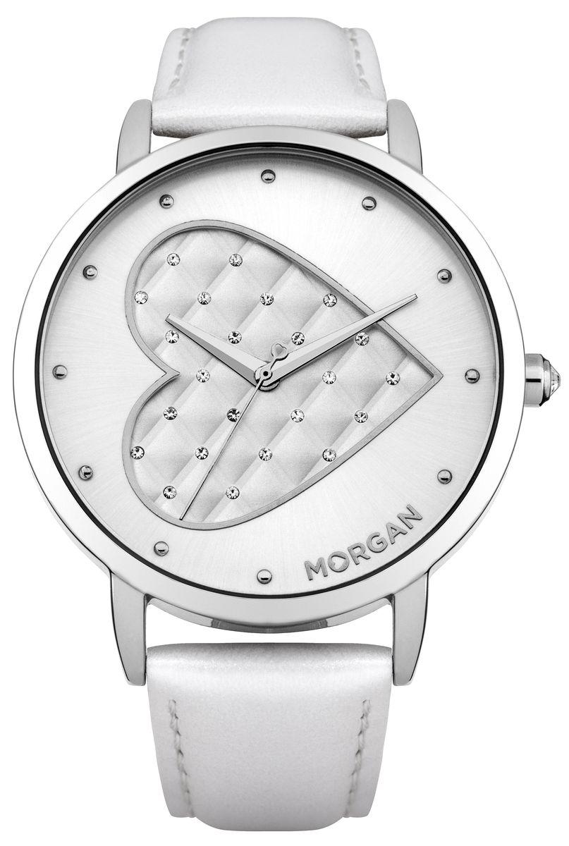 Наручные часы женские Morgan, цвет: серый металлик, белый. M1241WM1241WТрехстрелочный механизм PC21J IP Silver покрытие, Размер корпуса ? 42 mm; Минеральное стекло; Белый циферблат; Чешские кристаллы; Ремешок из натуральной кожи темло белого цвета; Водозащита 3 ATM