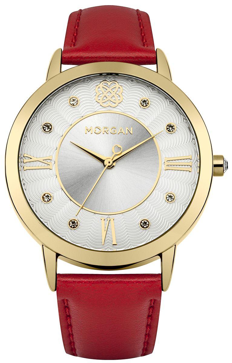 Наручные часы женские Morgan, цвет: золотой, красный. M1243GBRM1243GBRТрехстрелочный механизм PC21J; IP Gold покрытие, Размер корпуса o 38 mm; Минеральное стекло; Белый циферблат; Чешские кристаллы; Ремешок из натуральной кожи темло черного и красного цвета; Водозащита 3 ATM