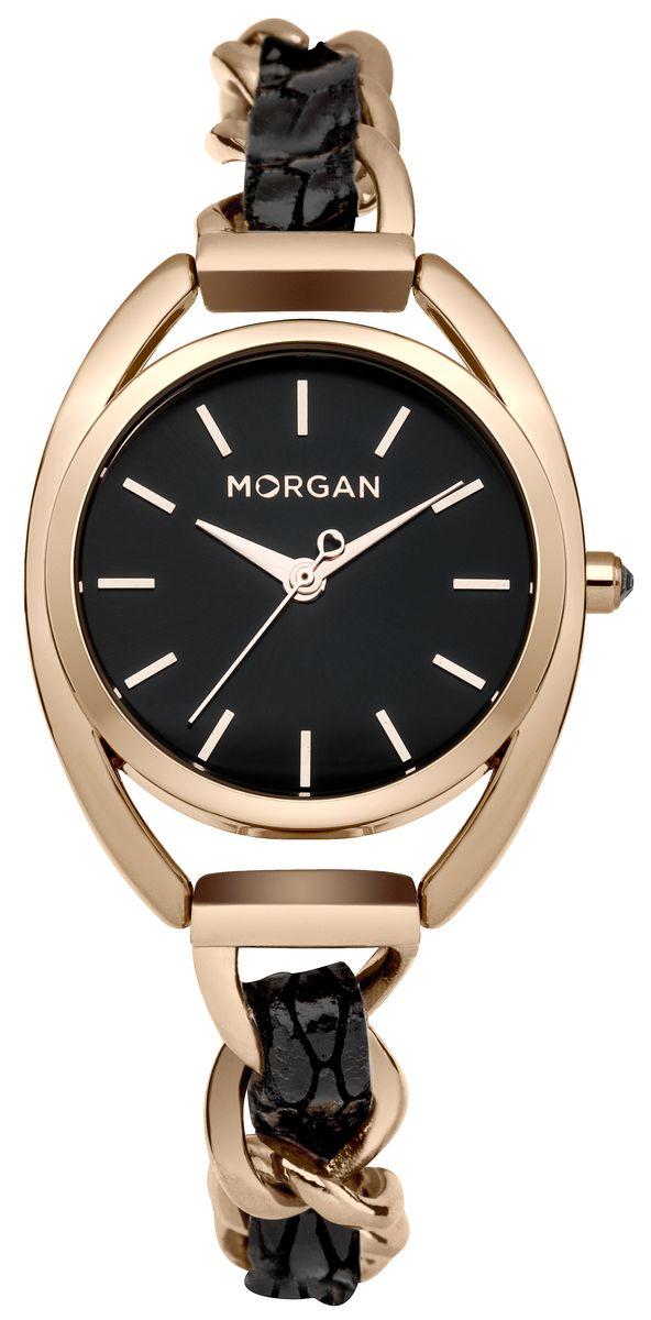 Наручные часы женские Morgan, цвет: золотой, черный. M1244BRGM1244BRGТрехстрелочный механизм PC21J; IP Gold покрытие; Размер корпуса ? 31 mm; Минеральное стекло; Циферблат черного цвета; Чешские кристаллы; Браслет с кожей; Водозащита 3 ATM