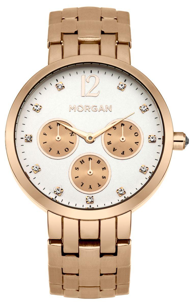 Наручные часы женские Morgan, цвет: золотой. M1250RGMM1250RGMТрехстрелочный механизм 2025; IP Gold Rose покрытие; Размер корпуса ? 36 mm; Минеральное стекло; Белый циферблат; Чешский циферблат; Браслет; Водозащита 3ATM