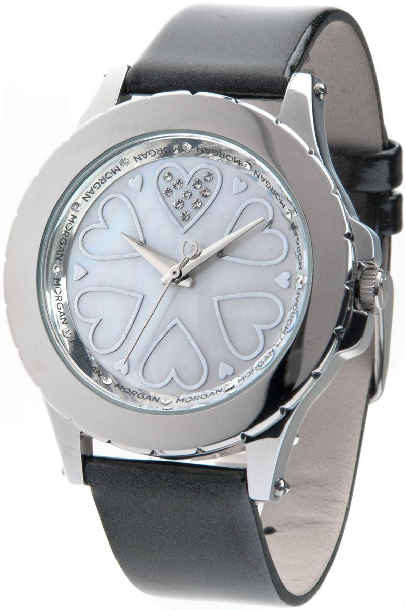 Наручные часы женские Morgan, цвет: серый металлик, черный. M1128SBRM1128SBRТрехстрелочный механизм Miyota; Сталь; Полированный корпус; Минеральное стекло; Перламутровый циферблат; Чешские кристаллы; Ремень из натуральной лакированной кожи белого цвета; Водозащита 3 ATM