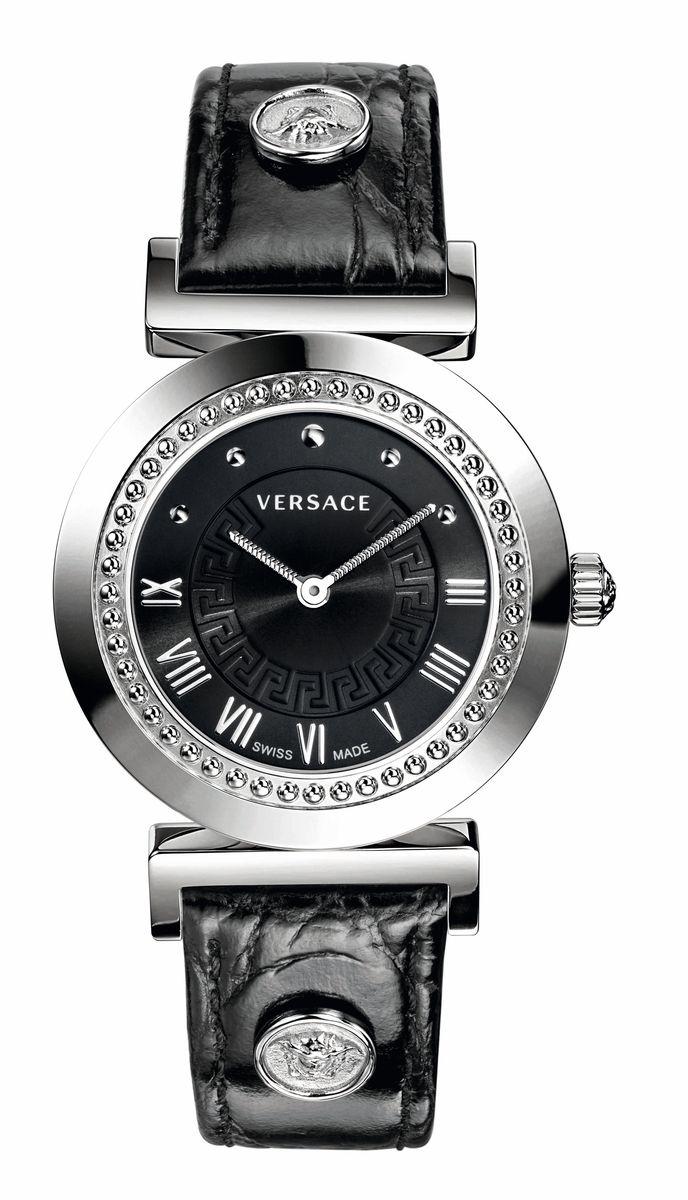 Наручные часы женские Versace, цвет: серый металлик, черный. P5Q99D009S009P5Q99D009S009Механизм: RONDA 762.3, кварцевый, 2 стрелки, SWISS MADE. Корпус: 35 мм, полированная сталь, индивидуальный номер на задней крышке. Циферблат: черный, внутренняя обработка в виде греческого орнамента, римские индексы, логотип Versace. Ремешок: черный из кожи теленка с имитацией под крокодила, 2 клепки из стали с гравировкой головы Медузы, застежка - бабочка.Стекло: сапфировое с антибликовым покрытием. Водозащита: 3 ATM