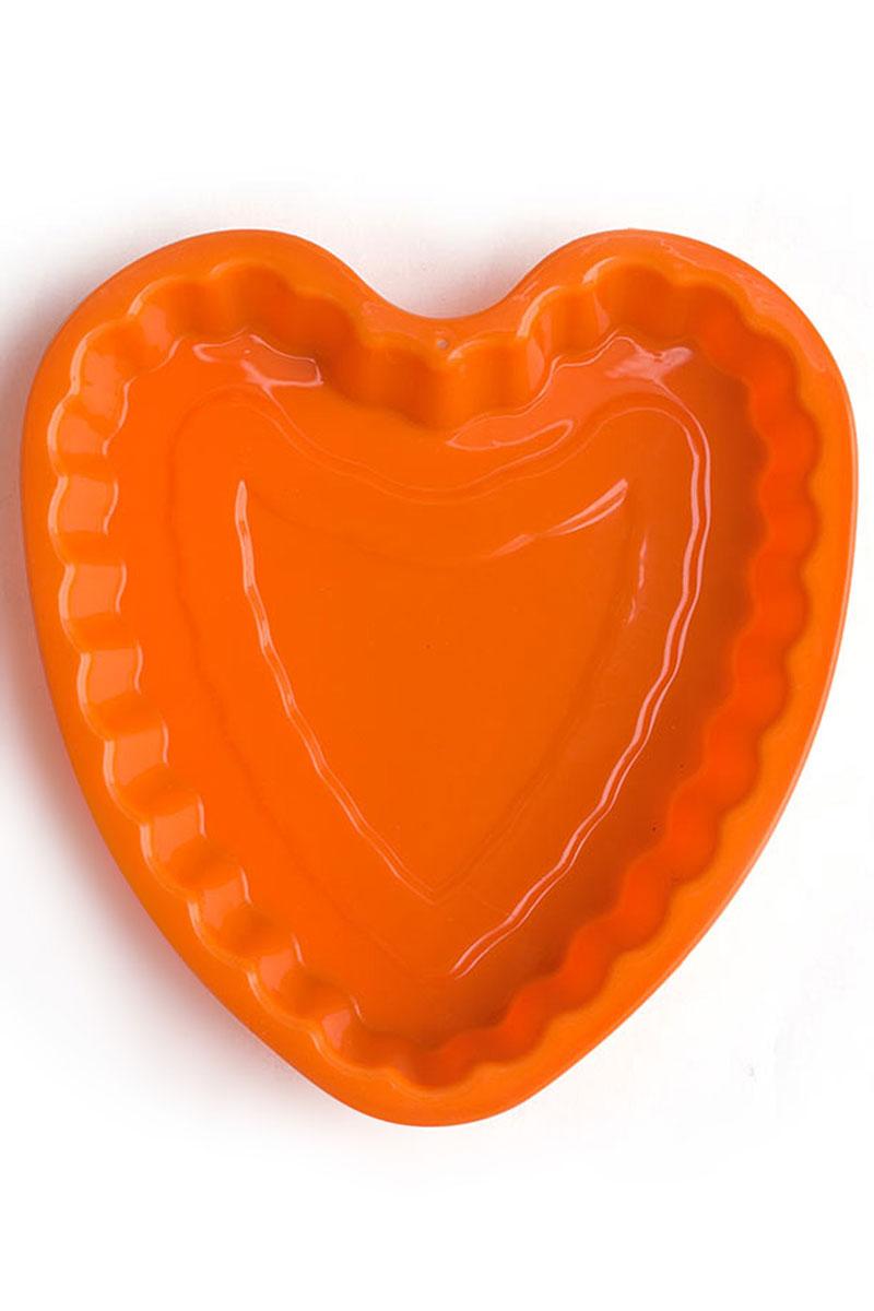 """Форма для выпечки Calve """"Сердце"""", силиконовая, цвет: оранжевый, 21 х 20 х 4 см"""