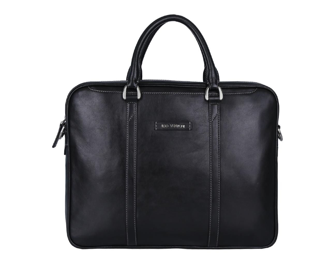 Сумка мужская Leo Ventoni, цвет: черный. 0300238603002386Стильная мужская сумка Leo Ventoni выполнена из натуральной гладкой кожи и закрывается на металлическую застежку-молнию. Внутренняя часть изделия выполнена из текстиля и натуральной кожи. Отделение сумки содержит боковой мягкий карман с хлястиком на липучке для планшета, врезной карман на пластиковой молнии, два прорезных кармана и два держателя для шариковых ручек. На передней и задней стенках изделия расположены глубокие прорезные открытые карманы. Сумка декорирована металлической надписью логотипа бренда и прострочками. Изделие оснащено удобными ручками для переноски. К сумке прилагаются наплечный ремень регулируемой длины и фирменный текстильный чехол для хранения. Функциональная мужская сумка Leo Ventoni станет стильным аксессуаром для делового мужчины.