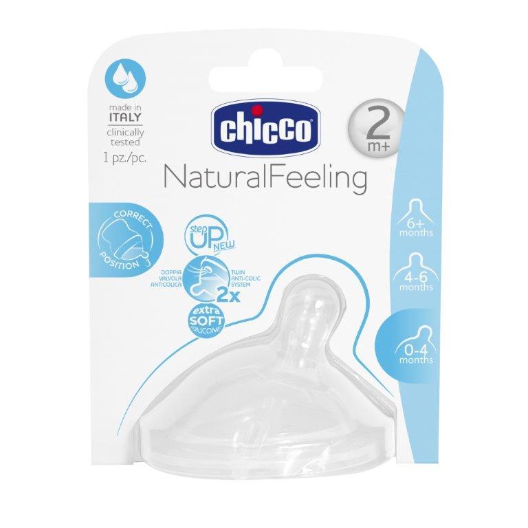 Chicco Соска Natural Feeling силиконовая средний поток от 2 месяцев81023100000Обеспечивает легкий захват всей соски