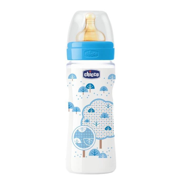 Chicco Бутылочка Well-Being Boy латексная соска от 4 месяцев 330 мл
