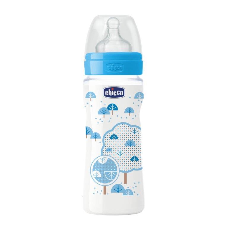 Chicco Бутылочка Well-Being Girl силиконовая соска от 4 месяцев 330 мл