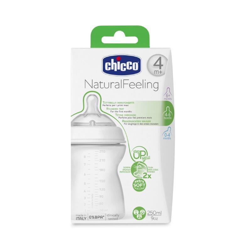 Chicco Бутылочка Natural Feeling от 4 месяцев 250 мл80725000040Уникальная наклонная соска для новорожденных